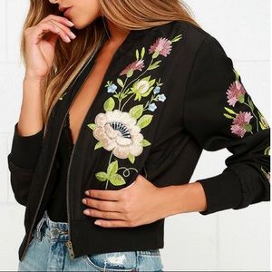 Floral Embroidered Bomber Jacket by Glamorous