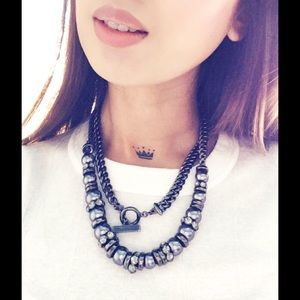 GIVENCHY BLACK PEARL & CRYSTAL CHAIN NECKLACE