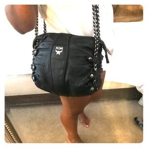 Leather MCM cross body with Chain Strap