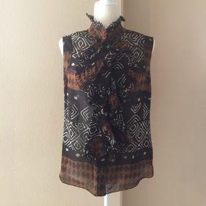Oscar De La Renta Tribal Print Ruffle Silk Blouse
