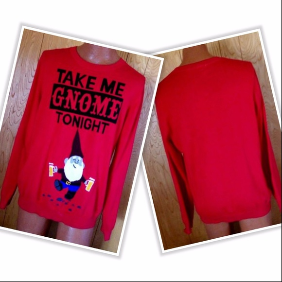 Mossimo Supply Co Sweaters Take Me Gnome Tonight Mens Sweater