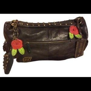 Betsey Johnson Brown Leather Moto Studded Bag