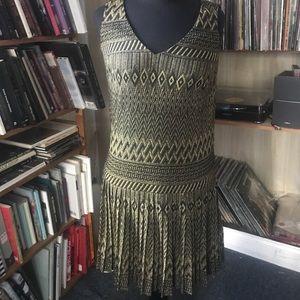 London times gold metallic pleated flapper dress 8