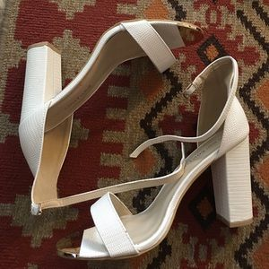 White Faux Lizard Ankle Strap Heeled Sandals