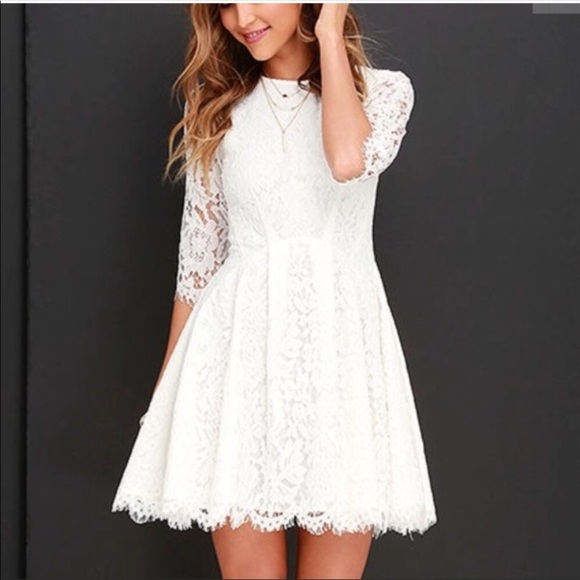 eef3d6805c Lulu s Dresses   Skirts - LULUs it s a new day white lace skater dress