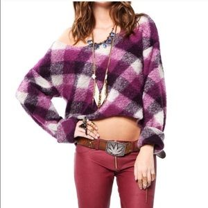 For love and lemons purple plaid cropped sweater