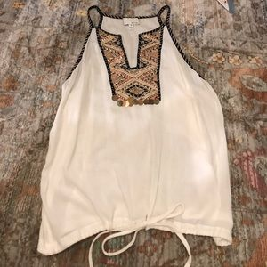 Embellished tank top with draw string bottom!