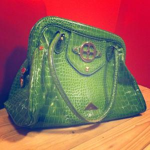 Iman green aligator skin purse