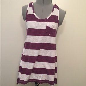 Purple and white striped juniors sleeveless top