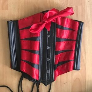 Other - Leather Waist trainer/corset with red ribbon.