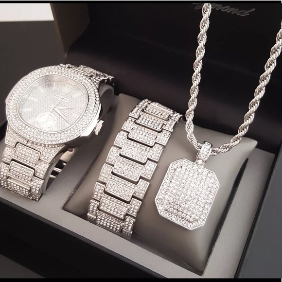 db01b487099c91 Accessories   White Gold Watch Bracelet And Necklace Combo Set ...