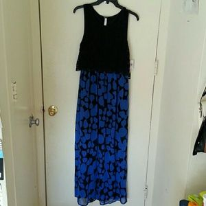Kensie True Blue Combo Maxi Dress