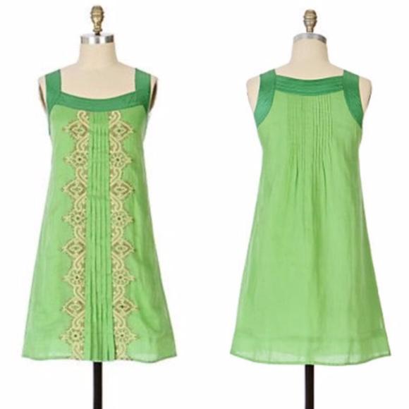 Anthropologie Dresses Floreat Mint Leaf Embellished Dress Poshmark