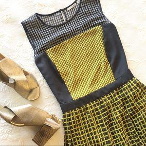 Halogen Grey and Yellow Pleated Midi Skirt Dress