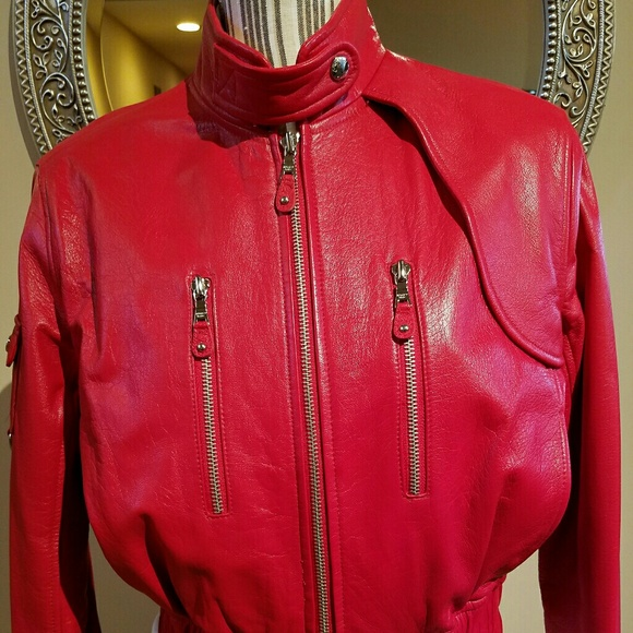 Andrew Marc Moto Racing Red Leather Bomber Jacket