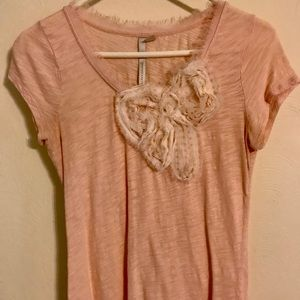 Lauren Conrad Light Peach Slub Bow T-Shirt