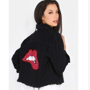 Jackets & Blazers - 💋Red Sequin lips   Distressed Denim Jacket💋 NWT