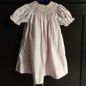 Pink smocked birthday dress