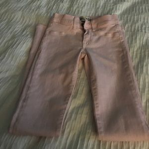Pink waxed feel jeans