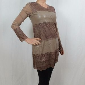 NWT PRETTY ANGEL CLOTHING LACE/MOCK LEATHER DRESS