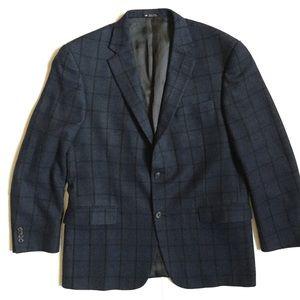 Hart Schaffer & Marx blue windowpane wool coat