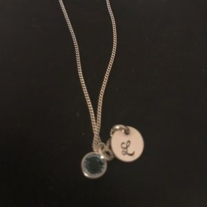 Aqua stone and L initial necklace