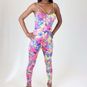 Pants - Floral Print Bodysuit