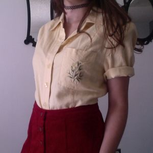 Adorable Yellow Embroidered Flower Plant Blouse