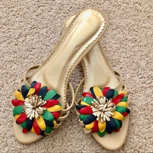 Shoes - Genuine Leather Flower slides sandal