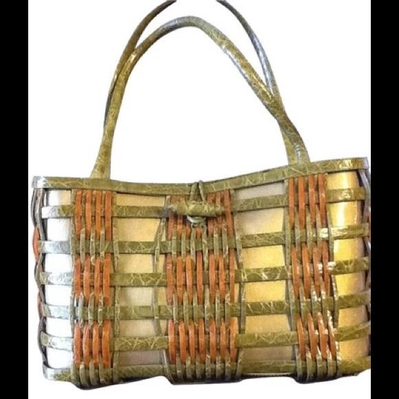 Nancy Gonzalez Handbags - Nancy Gonzalez Rare Basket Weave Crocodile Bag