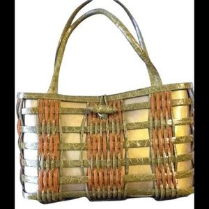 Nancy Gonzalez Rare Basket Weave Crocodile Bag