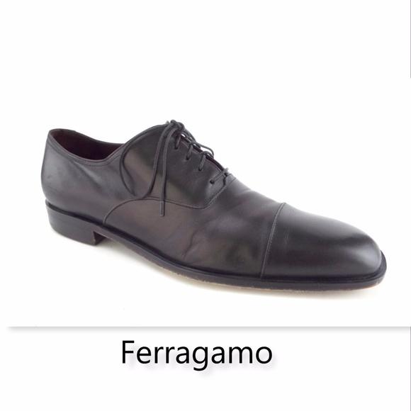 112a9735610 FERRAGAMO STUDIO Black Cap Toe Leather Oxford 12