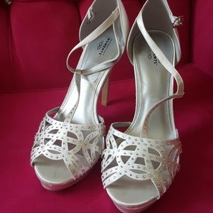 Shoes - White Heels with Jewels