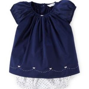 Ralph Lauren Navy Smocked Cotton Dress w/ Bloomers
