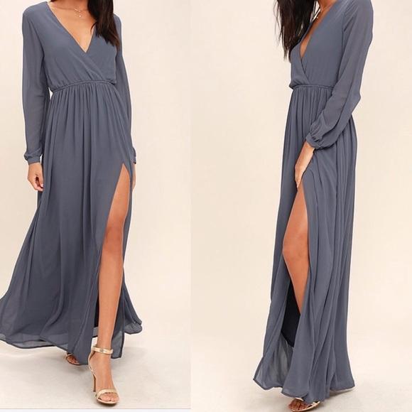 0f3c0c1f16a98 Lulu's Dresses & Skirts - Lulus wondrous water lilies slate gray maxi dress