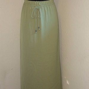 green maxi skirt with side slits