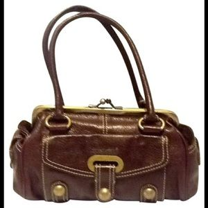 Hype Burgundy Leather Satchel