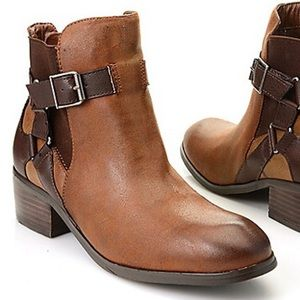 Distressed Harness Ankle Boot