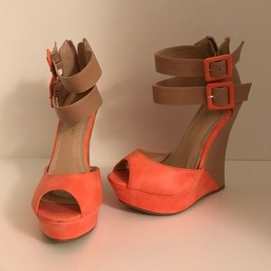Shoes - Coral Sandel Wedges
