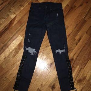 Carmar LF hi waist jeans w rips & lace up details