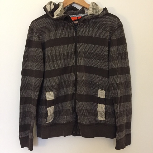 775f913d666 Hugo Boss Shirts | Brown Tan Striped Zip Up Hoodie Sweat | Poshmark