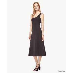Ann Taylor Black Doubleface Scoop Flare Dress