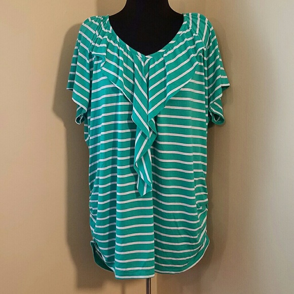 1aa29984de3 French Laundry Tops - NWT Green   White Striped Scoop Neck Tunic