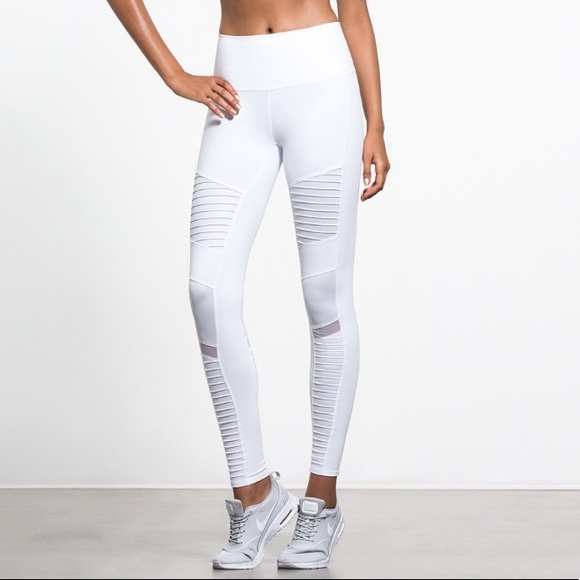 875b3a97a47dc8 ALO Yoga Pants   High Waisted Moto Legging White Small   Poshmark