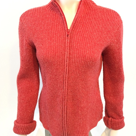 65% off Bianco Blu Sweaters - Women's zip front red marled sweater ...