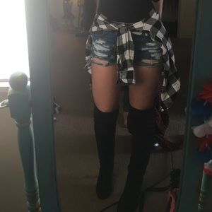 Black over the knee boots with heel