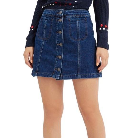 49891588f3 Topshop Skirts | Moto Button Front Denim Skirt | Poshmark