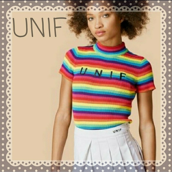 c793203bfd87e7 UNIF Rainbow Ribbed Striped Crop Top Medium. M 5a123f9341b4e07df40b53c9