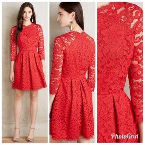 Shoshanna Vermillion Lace Dress