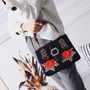 Handbags - Faux leather🐍&🌹black Crossbody bag